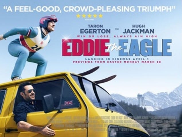 eddie the eagle film, movie review, hugh jackman, Taron Egerton
