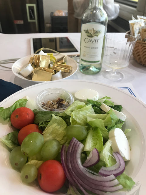 Goats cheese salad and Pinot Grigio for lunch