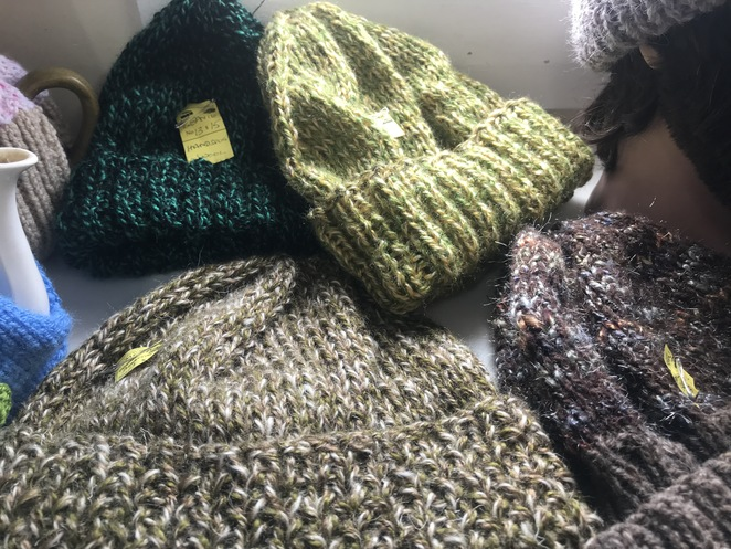 Hand knitted beanies at Treasures and Trains, Goolwa