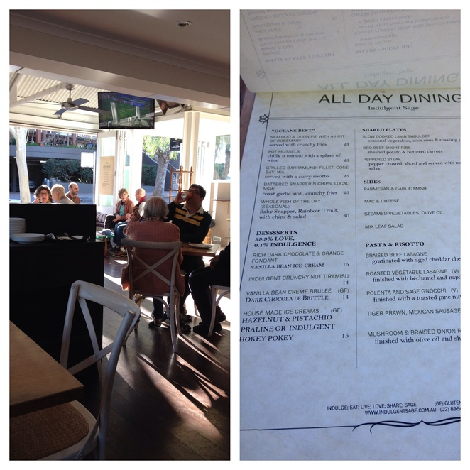 Indulgent sage, cafe and restaurant, all day dining menu, bridge views, review