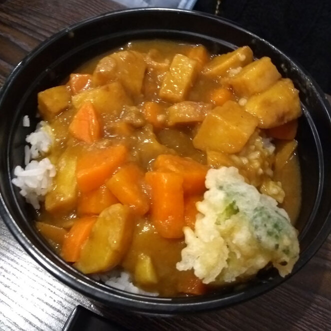 Japanese Curry (excuse the lone piece of tempura vegetable)