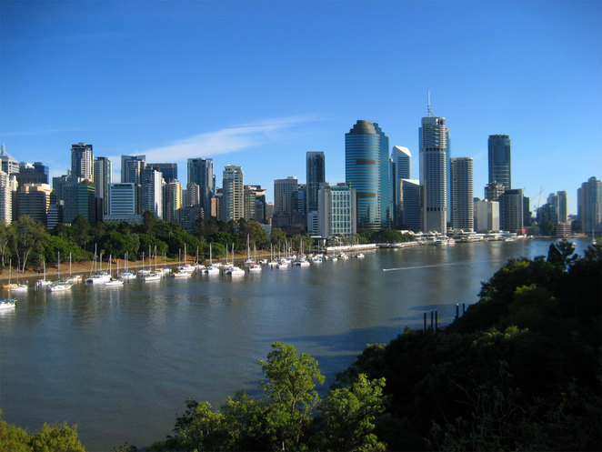 View of the office buildings at Eagle Street Pier from Kangaroo Point Cliffs