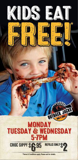 Kids eat free, Outback Jacks, Belconnen