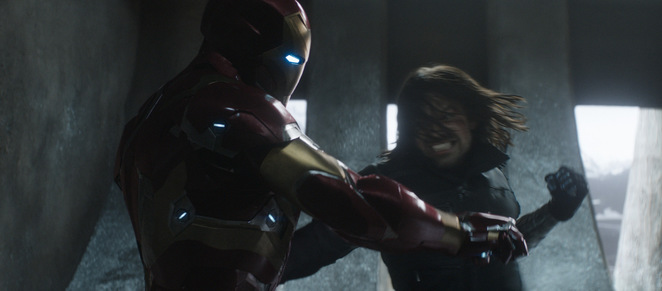 Iron Man and the Winter Soldier battle in MARVEL's Captain America: Civil War