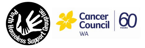 Perth Homeless Support Group and Cancer Council Fashion Fundraiser and PHSG and Cancer Council Logos