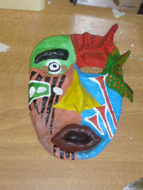 How to make papier mache african mask everywhere for Paper mache mash