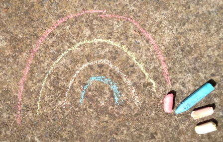 school holidays digital scavenger hunt chalk rainbow