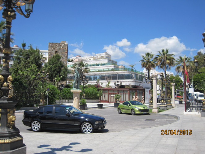 Tower, Palm Trees and Posh Cars at Puerto Banus