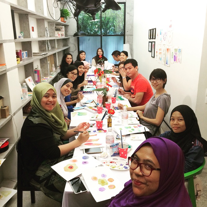 watercolour im in love painting workshop sebelas bangsar