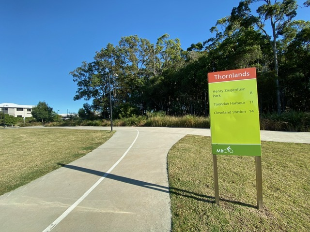 One of the entrances to the Waterline Boulevard Bioretention Basin from the Moreton Bay Cycleway