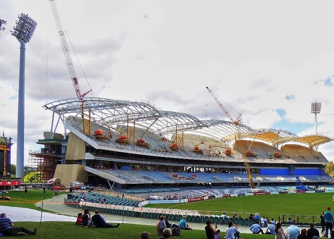 adelaide, adelaide oval, adelaide casino, cricket, redevelopment, grandstand, media, football, scoreboard, unfinished