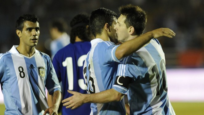Argentina's footballers celebrate
