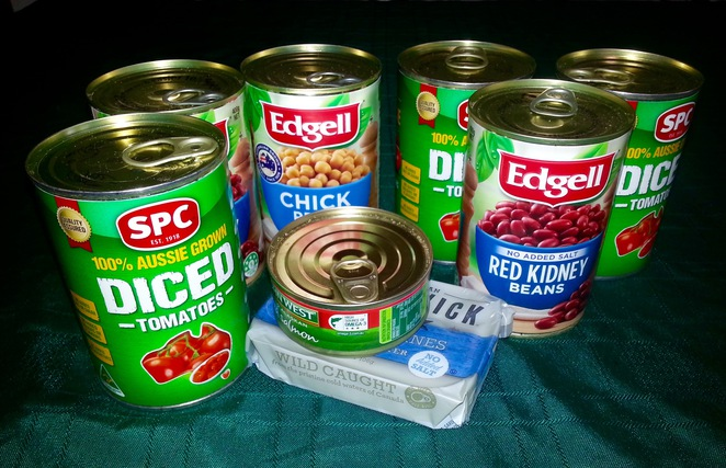 Cans of food, donate, can food, non-perishable, tin food, tin tomatoes, tin chickpeas, tin salmon,