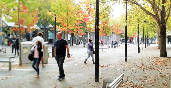 city walk, autumn, canberra, seasons, kids, school holidays, children, leaves, shopping,