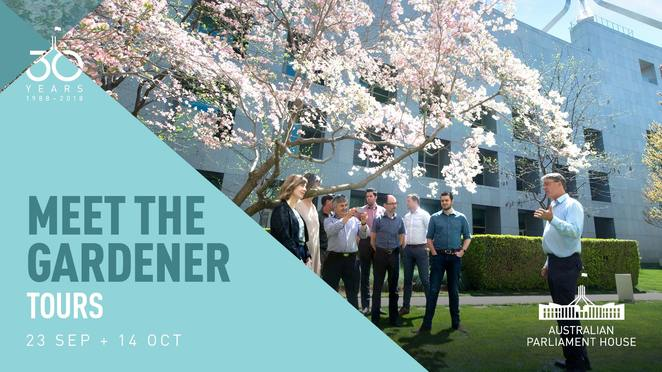 meet the gardener tours, parliament house, canberra, ACT, whats on, events, things to do, spring events, 2018, open gardens, garden tours, floriade, events,