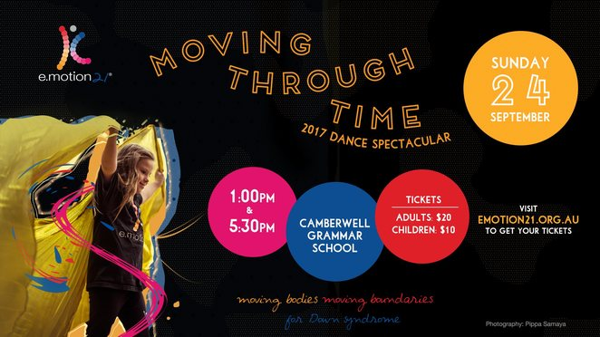 moving through time, e.motion21, dance spectacular 2017, annual concert, camberwell grammer school, canterbury, community event, fun things to do, performing arts, melbourne show, down syndrome awareness, music, dancing, dance concert