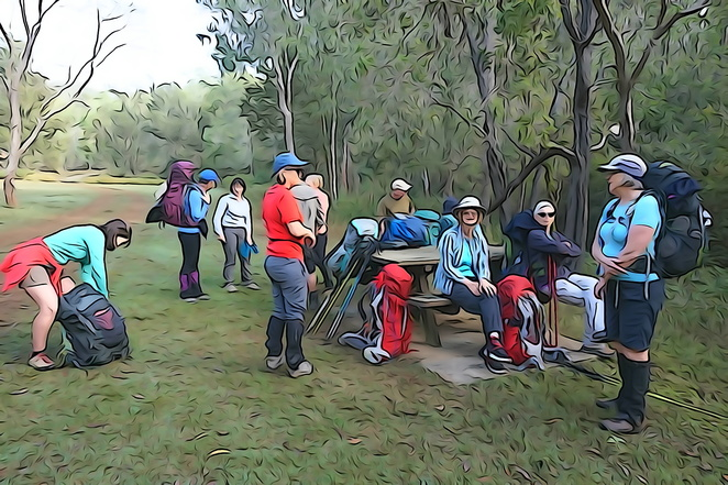 People at campsite
