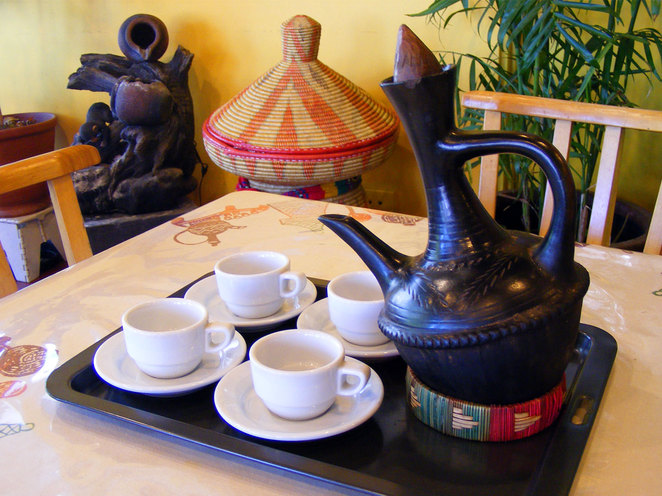 Traditional Ethiopian Coffee Pot with a traditional Ethiopian table in the background