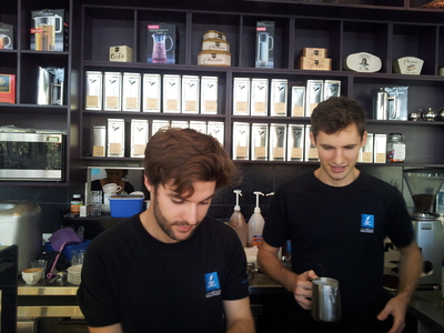 Baristas and tea selection