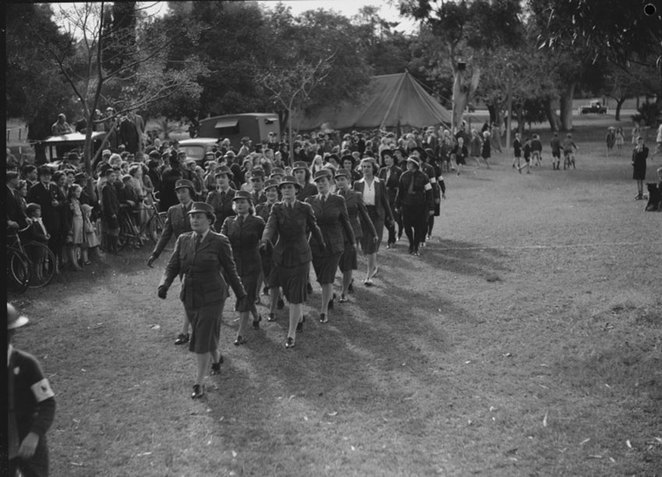 ANZAC Cottage Open Day Celebrates Women at War.Claremont Air Raid Precautions (ARP)wardens marching, 4 July, 1943 (State Library of Western Australia 221604PD).