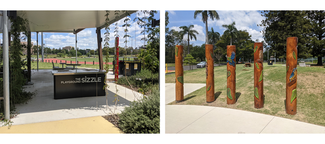 The barbeque facility and artistic poles.