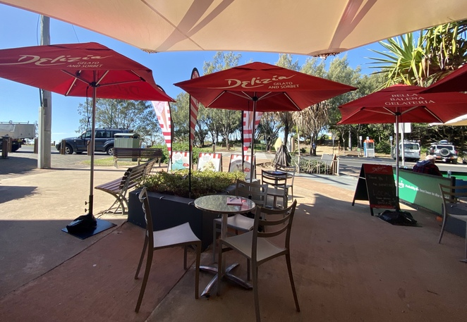 Outdoor, shaded seating with beautiful views is available