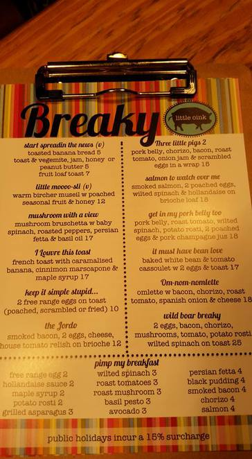 Breakfast Menu, Little Oink, Cook shops, canberra