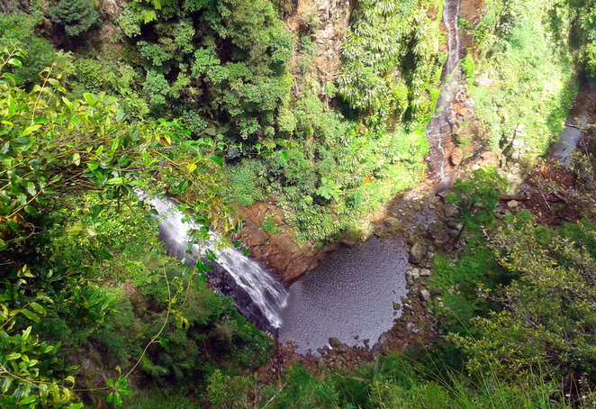 Looking down on a waterfall on the Coomera Circuit