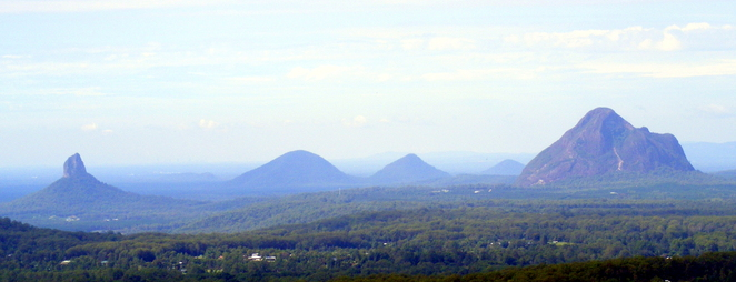 The Glasshouse Mountains is just over an hour north of Brisbane