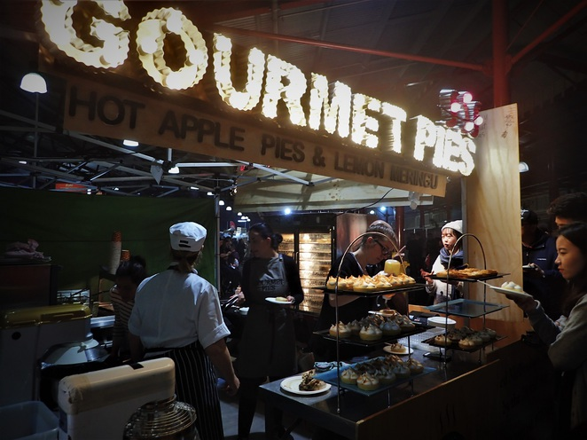 gourmet pie at qvm winter night market melbourne