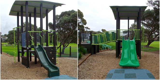 jan juc, Jan Juc creek, playground, park, grass, torquay, plastic slide, green slide, single slide, double slide,