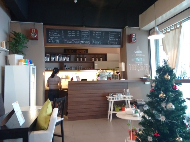 just caffe jalan green hall interior christmas tree counter