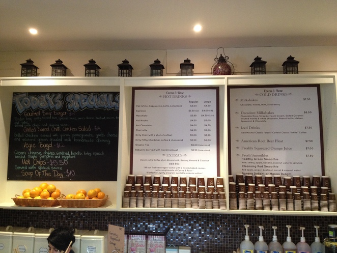 menu, cafe, cocoa, rose, east perth, perth, hay street