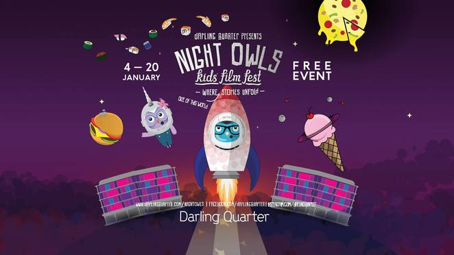 night owls kids' film fes 2019, darling quarter sydney, community event, fun things to do, free event, night owls film fest, outdoor movie screenings, village green, movie buff, film fest, the greatest showman, wonder, a wrinkle in time, black panther, pitch perfect, , fun for kids, family fun