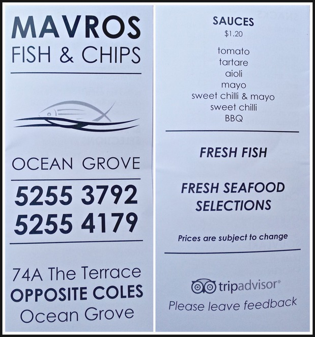 Ocean Grove, Mavros, fish and chips, seafood, takeaway