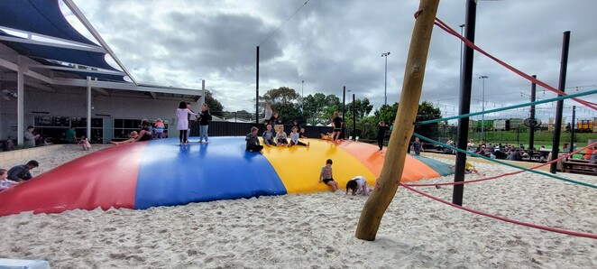 roar bar and grill playground jumping pillow