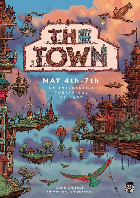 the town festival 2018, community event, fun things to do, alternative lifestyle, sustainable lifestyle, secluded village, lush rolling hills, dreamers home, diverse music, indoor and outdoor stages, olympics, cabaret, roller skating, canoeing, open mic, fire twirling, masquerade ball, weddings, prom night, immersive theatre, funky art cars, workshops, indoor basketball, giant games, spas, flying fox, zoo, op shop, markets, 8 foot felix, live bands, musicians, entertainment, dress ups, bands, nightlife, party time