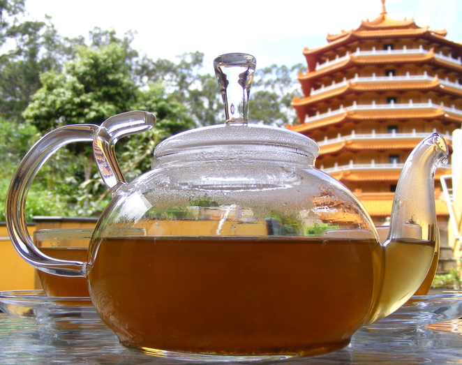 Enjoy tea at the temple at the Water Drop Teahouse