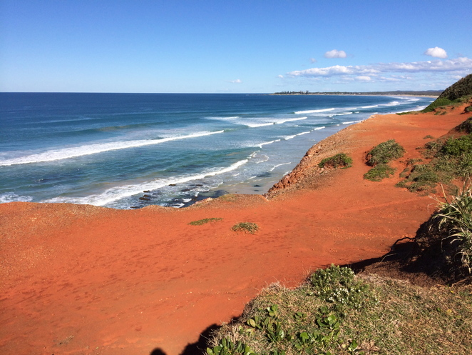 yuraygir, national park, red cliff, nsw, roadtrip, australia, eastern seaboard, red dirt, red earth