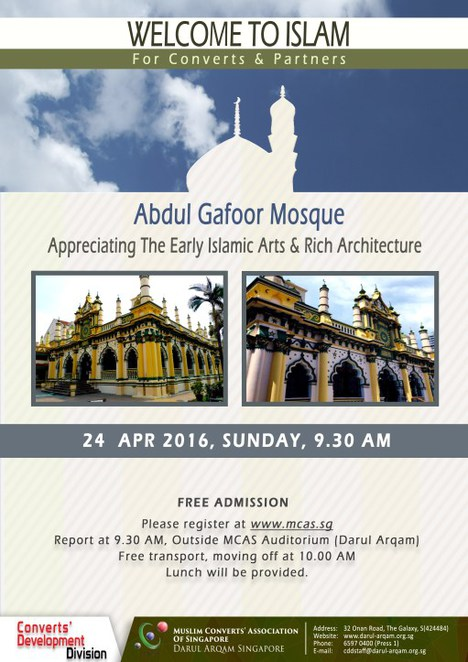 Abdul gafoor mosque, islam singapore, little india, singapore mosque, islamic teaching, Mcas, moslem convert, religious