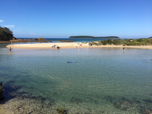 Broulee beach, swimming, lagoon