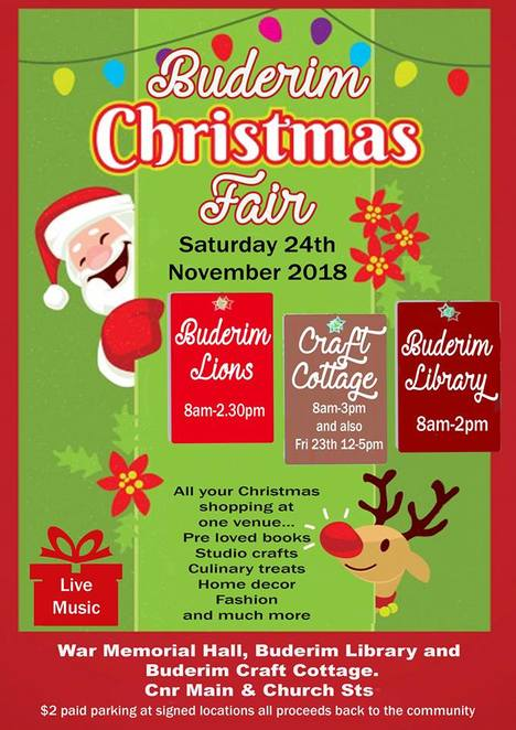 Buderim Christmas Fair, 2018, deck the halls, dress the table, decorate the tree, Christmas gift shopping, Buderim Craft Cottage, Buderim Lions, Buderim Library, handmade decorations, artworks, pottery, sculptures, cards, jewellery in silver, gemstones, fashion garments, toys, pre-loved books, refreshments, Devonshire tea, sandwiches, cake, street parking