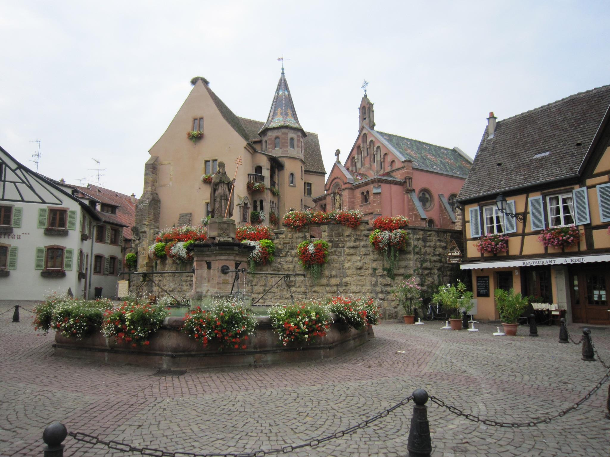 fountains alsace france eguisheim