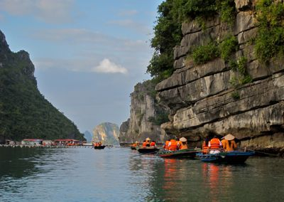 Ha Long Bay, Vietnam, tourist kayaks and boats