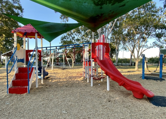 This smaller playground also has multi-level slides, with steps and brightly coloured climbing walls available