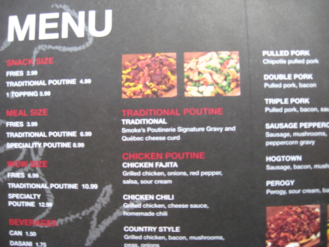 menu, Smoke's Poutinerie, french fries, snack food, french fries and gravy,
