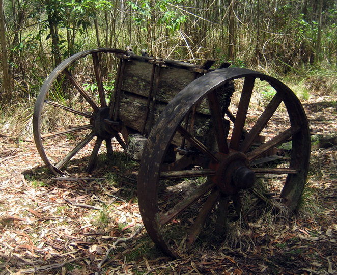 Old bullock cart on the Mt Mathieson Heritage Trail