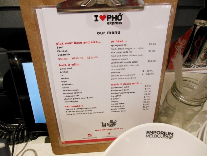 i love pho express menu