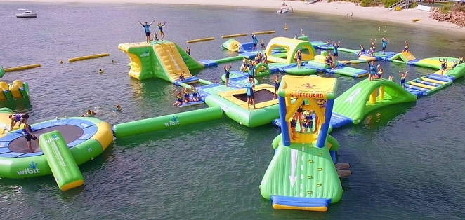splash water park, nelson bay, port stephens, NSW, school holiday activities, summer, kids, children, water, inflatable obstacle course,