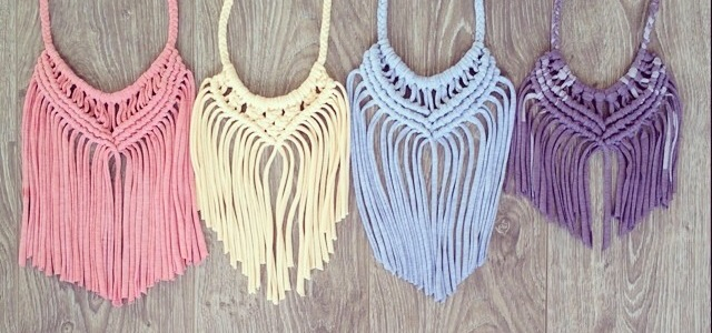 Upcycled Macramé T-shirt Necklaces